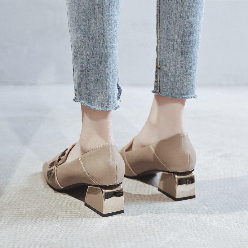 2019 En angleterre Nouvelle Pied Simples Apricot Un Squat Petites Carrée beige Paresseux Cuir Tête Chaussures Sac Kelly Avec Femmes rC4Rrq