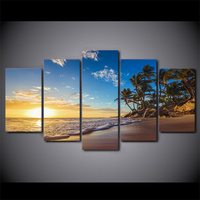 5 Piece Framed HD Printed Sunset Beach Palm Tree Modern Home Wall Decor Poster Canvas Art Painting Seascape Wall Pictures