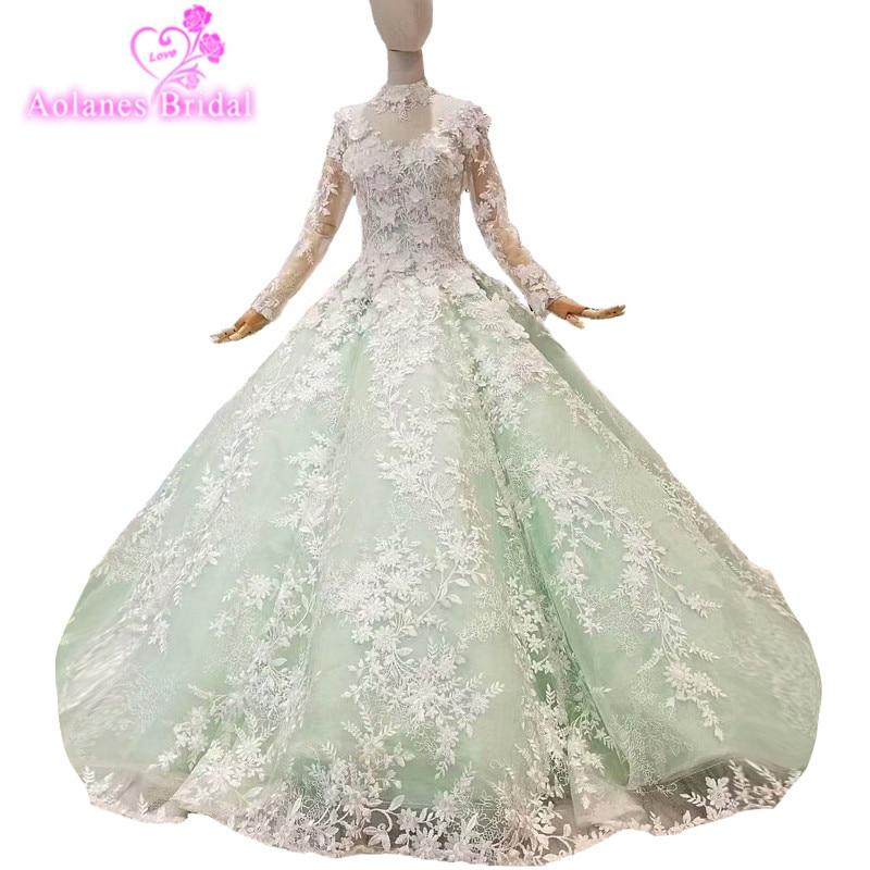 2018 bleu rose vert or Champagne dentelle col haut robe de bal vagues robe de bal manches longues parole longueur Vintage robes de soirée
