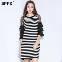 SFFZ 2017 New Autumn Women T Shirts Sweater Dress Black White Striped Pullovers For Female Shoulder