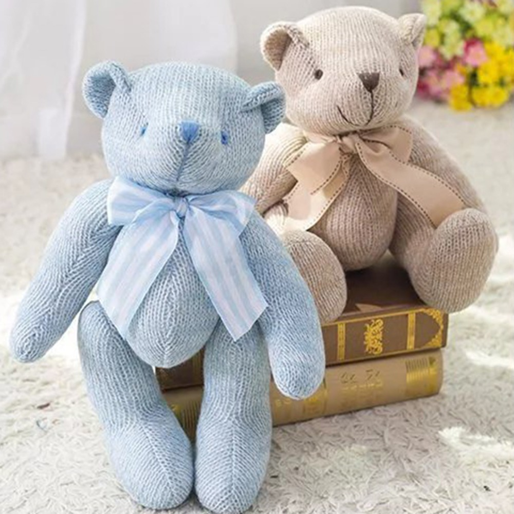 2017 New High Quality Bowknot Plush Toys Knitting Teddy Bear Doll Kawaii Small Plush Toys Stuffed Fluffy Bear Dolls Toys 28CM the new arrival hot dress stuffed teddy bear doll sit plush dolls bears direct manufacturers wholesale for kids toys