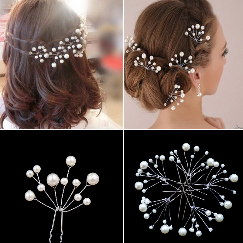 5Pcs Wedding Bridal Crystal White Pearl Flower Hair Pins Sticks Hair Accessories