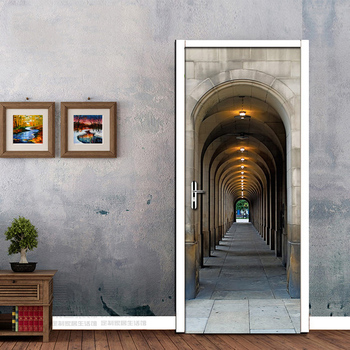 3D Arches Gallery European Style Creative Wall Sticker For Bedroom Living Room Door Stickers Waterproof Decals Mural Wallpaper door stickers pvc waterproof living room bedroom door wallpaper self adhesive art wall decals imitation 3d wall sticker tapety