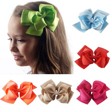 AHB 5 Inch Double-layered Hair Bows for Girls with Clips Handmade Solid Grosgrain Ribbon Bowknot Hairgrips Kids Headwear