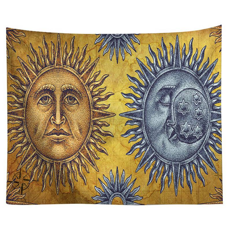 Bohemian Wall Hanging Tapestry Classic Sun Theme Polyester Fabric ...