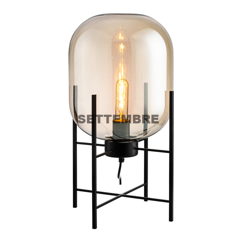 Modern Glass Table Lamp Art Deco Bedside Lamp For Living Room Gray/Cognac Lampshade Free Retro Bulb