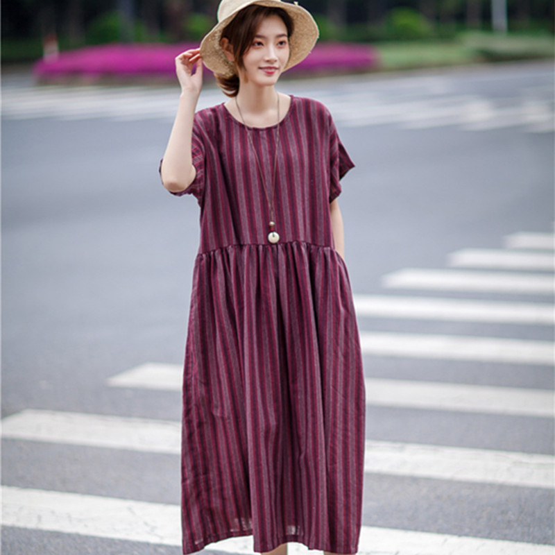 2018 New Summer High Waist Dress Ladies Women European Style Striped Dress Loose Dress in Big Sizes Causal Comfortable Vestidos
