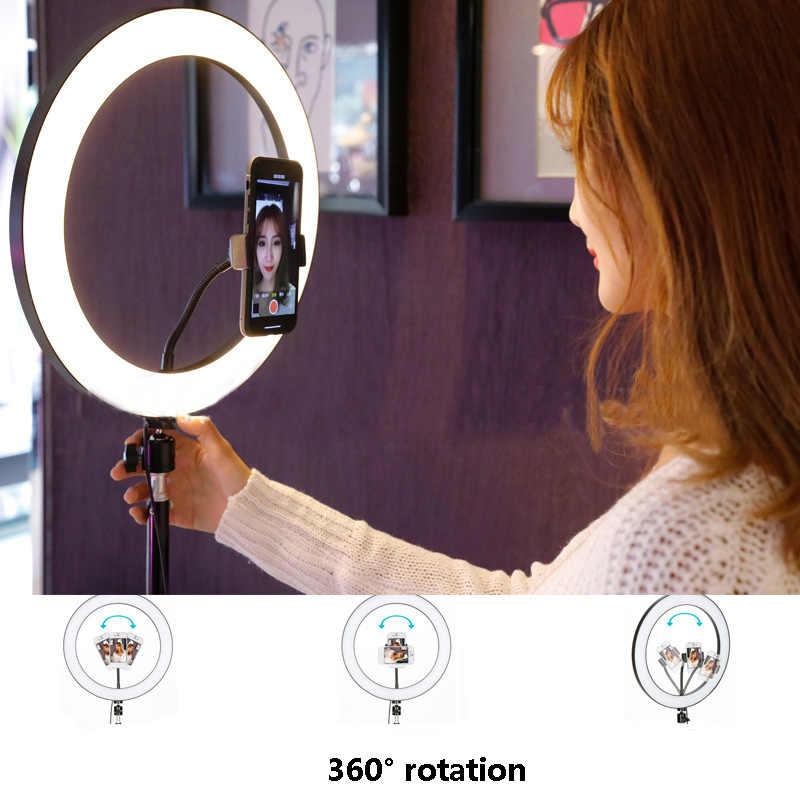 Novo anel de led flash luzes com suporte para iphone xiaomi huawei samsung telefones led flash lâmpada com bola cabeça para tripé bloggers