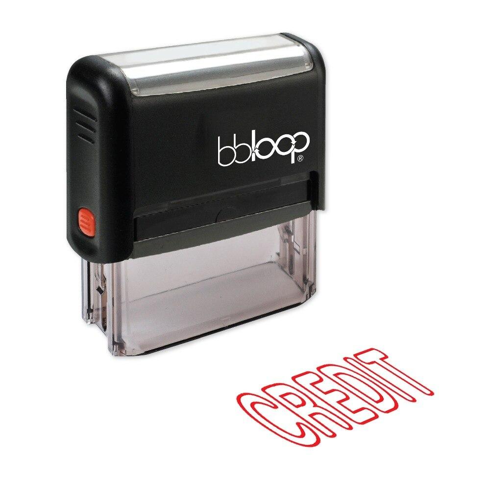 BBloop CREDIT Outline Self-Inking Stamp, Rectangular, Laser Engraved, RED/BLUE/BLACK 10 digit 9 wheels gray light blue rubber band self inking numbering stamp