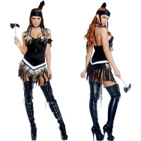 Black Sexy Indian Costume Tassels Feather Indian Queen Halloween Costumes for Women Pocahontas Indian Wild West Fancy Dress