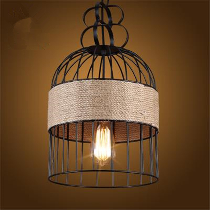 Retro Industrial winds Iron Bird Cage Restaurant Chandelier Creative Personality Livingroom Aisle Cafe Bar Lamp Free Shipping contemporary and contracted creative personality retro art glass chandelier cafe restaurant study lamps act the role of milan