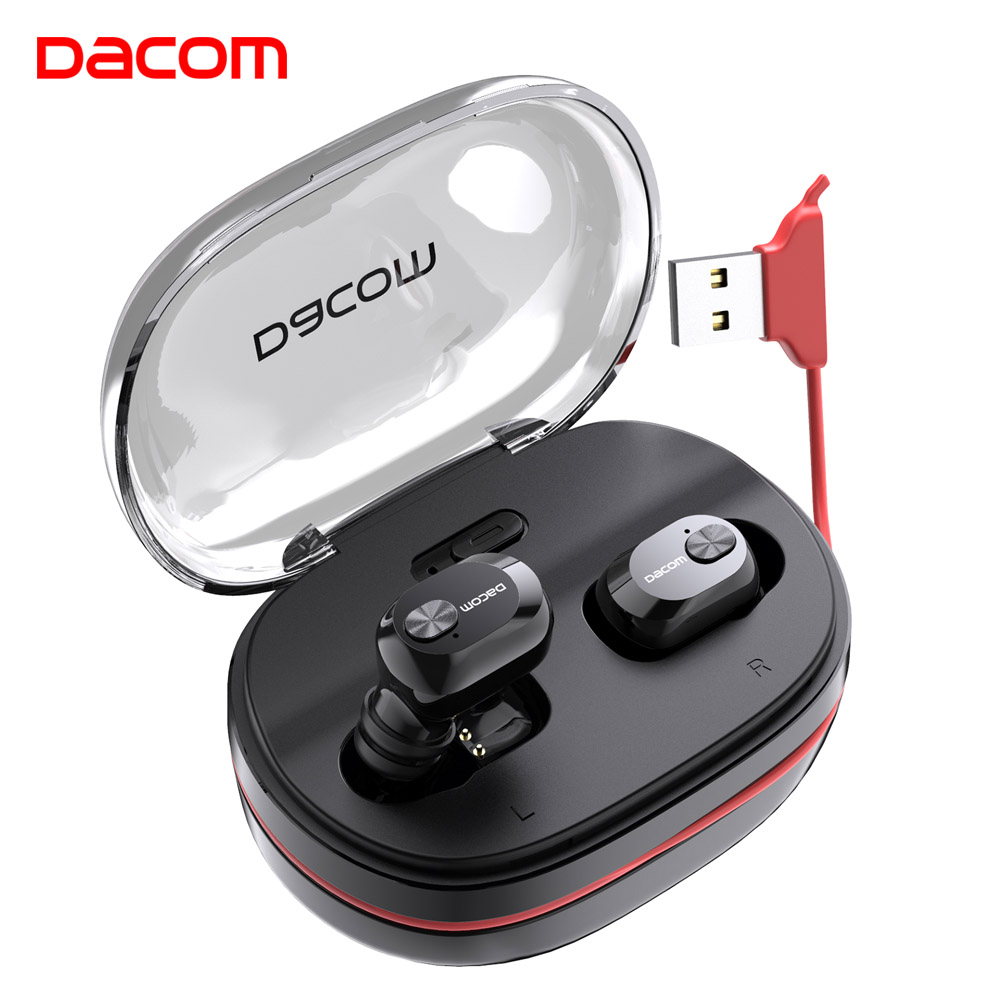 Dacom GF7tws 4.2 handsfree earpiece noise canceling in ear headphone headset stereo wireless bluetooth earphone for phone dock connector to usb cable