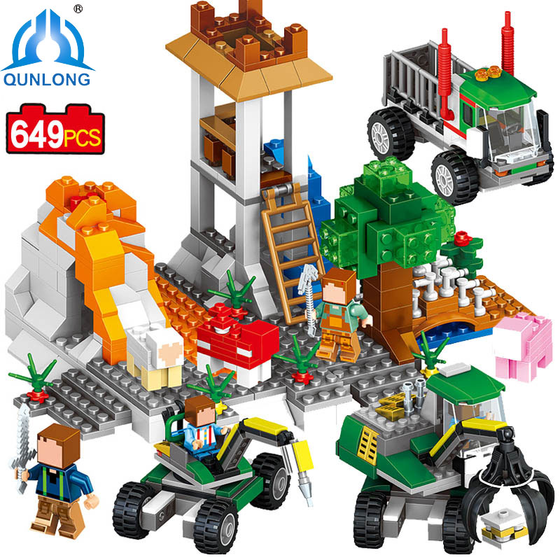 qunlong My World Corral Volcanic Exploration Mine Toy Building Block Compatible Legoe Minecraft Block Car Brick Toy 2017 Gift купить