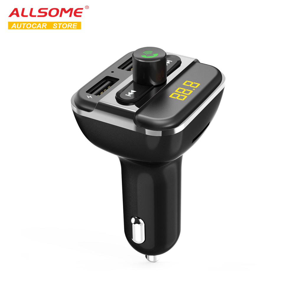 ALLSOME <font><b>Car</b></font> <font><b>MP3</b></font> <font><b>Player</b></font> Bluetooth FM Modulator Dual <font><b>USB</b></font> Charger <font><b>Port</b></font> <font><b>Car</b></font> Radio FM Transmitter Support Flash Driver TF/<font><b>SD</b></font> <font><b>Card</b></font> image