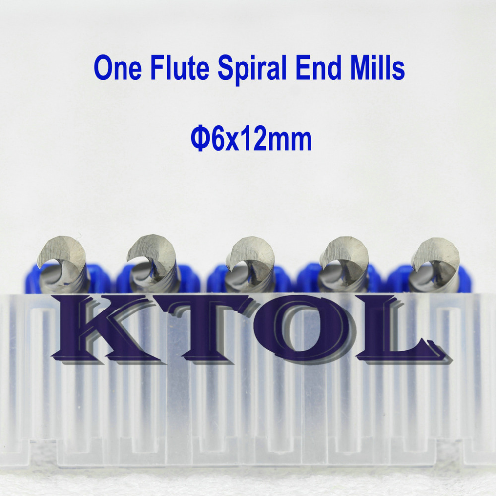 Free Shipping 10pc set 6 12mm One Flute Spiral Mill Bits Clean end millinging tools cnc