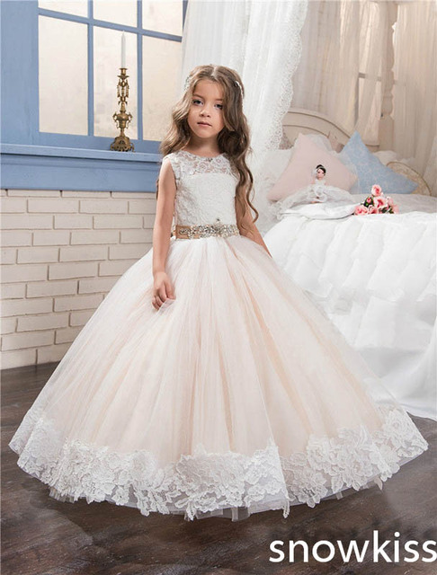 Vintage flower girl dress for beach wedding blush pink with beaded ...