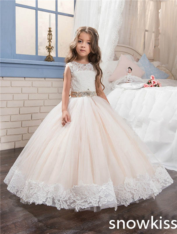 Vintage flower girl dress for beach wedding blush pink with beaded lace appliques toddler pageant gowns communion dresses