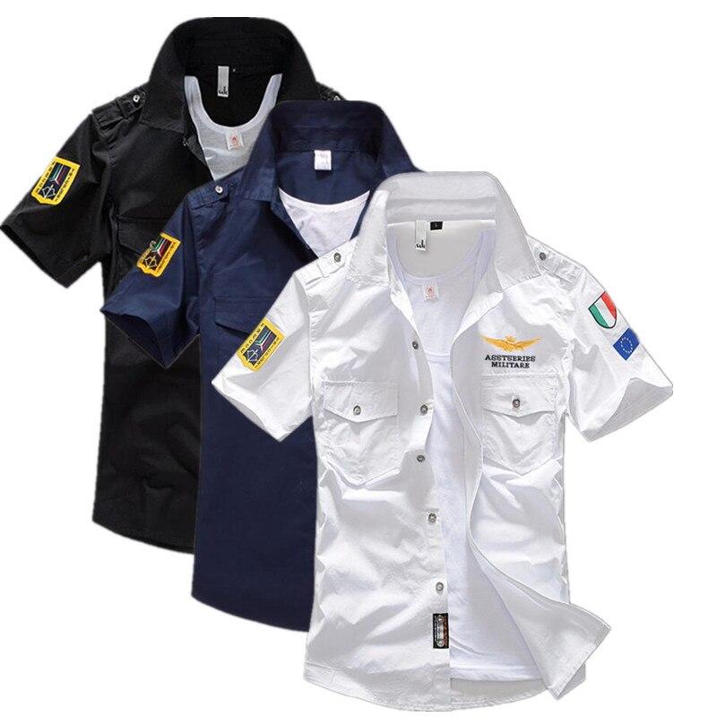 2019 חדש קצר שרוול חולצות אופנה חיל האוויר אחיד קצר שרוול חולצות גברים של שמלת חולצה משלוח חינם גודל S-6XL
