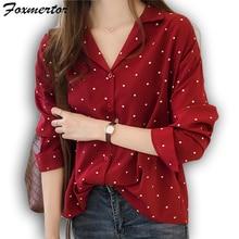 Модная женская футболка, XL, воротник с лацканами, женская рубашка, длинный рукав, круглый вырез, рубашка, тонкая, элегантная, офисная, женская рубашка, E266