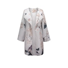 Queenus women coats spring gray floral prints loose wrapped mid length patchwork lapel spliced long sleeve women casual coat