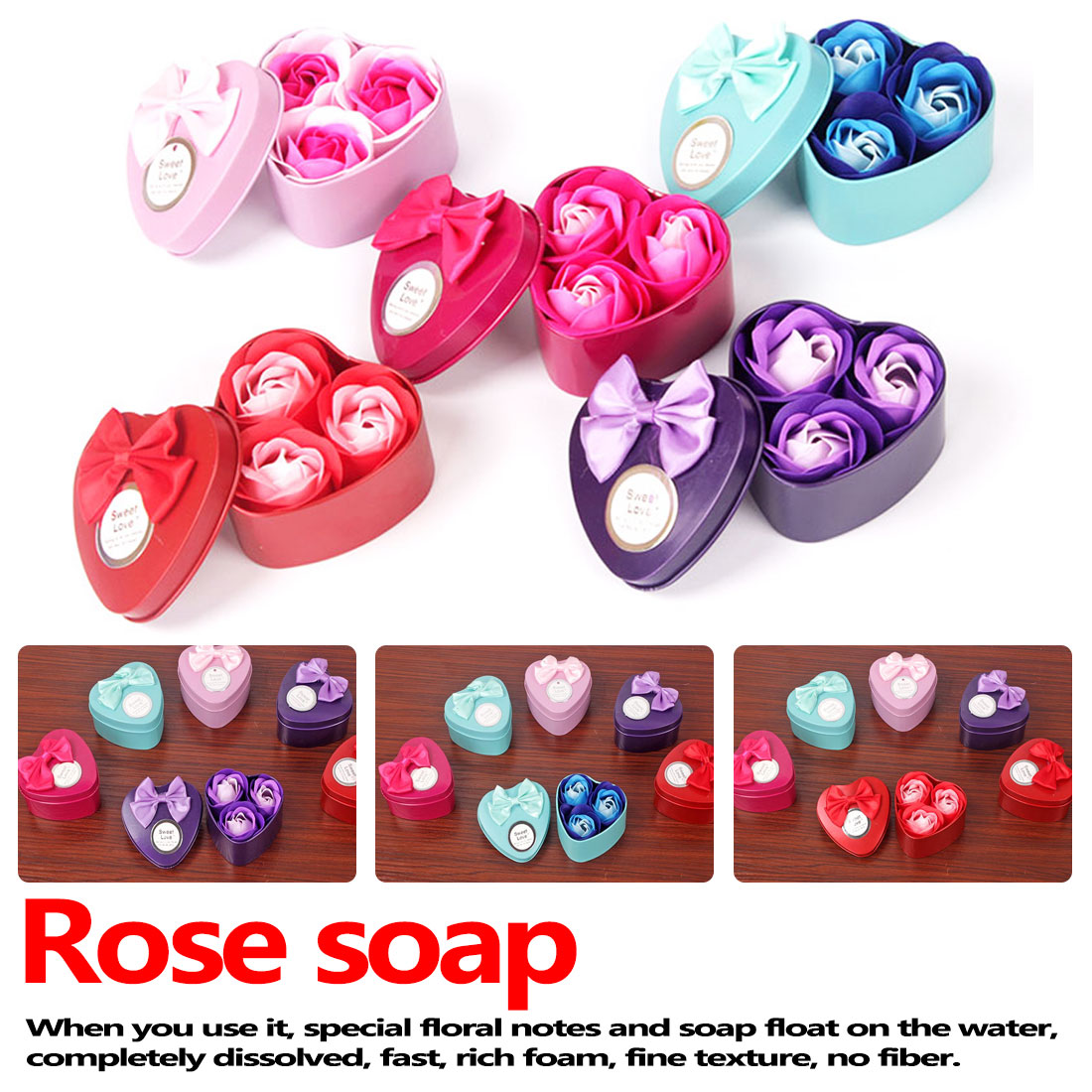 3Pcs Artificial Flower Rose Soap Flower With 1pc Heart-Shaped Iron Box Scented Bath Body Petal Rose Small Gift Box