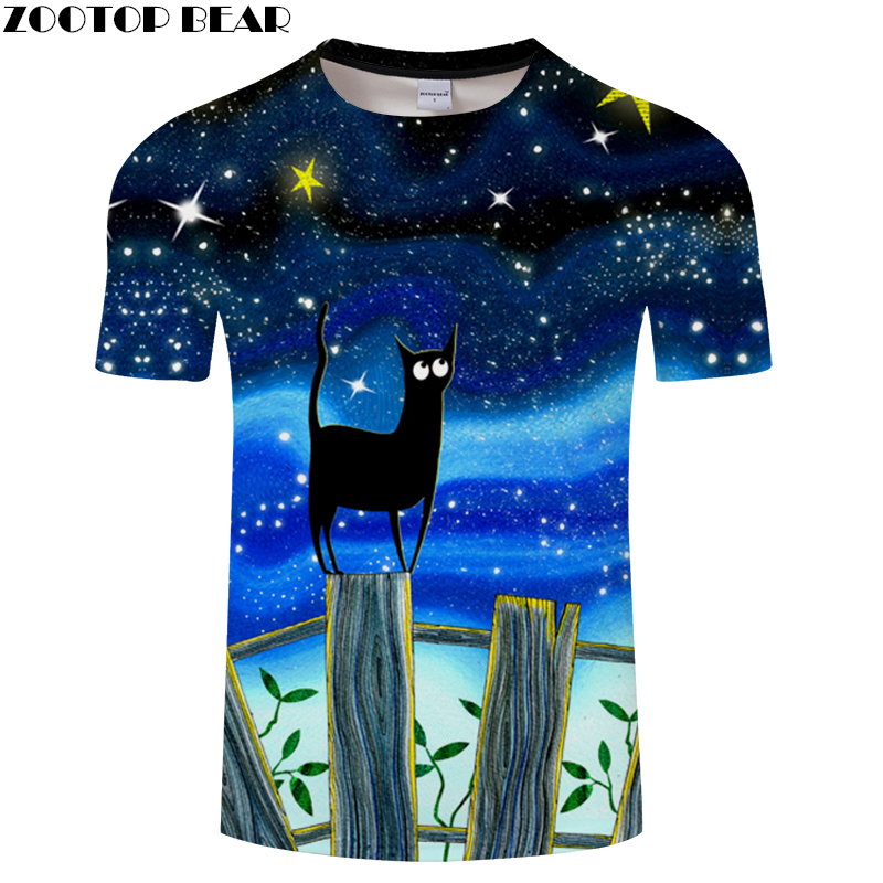 New Fashion Space/Galaxy men brand t-shirt funny print black cat Jetting water 3D t shirt summer tops tees Asian size s-6xl