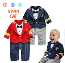 Free Shipping 3pcs lot Long sleeve faux two piece style Baby rompers