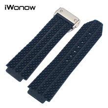 Silicone Rubber Watchband 26mm x 19mm for HUB Men Replacement Watch Band Steel Butterfly Buckle Strap Wrist Bracelet Black White