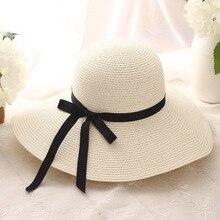 Chapéu de palha das mulheres de verão grande aba larga praia chapéu chapéu  de sol chapéu de sol dobrável proteção UV bloco chapé. 0c6f0cc9763