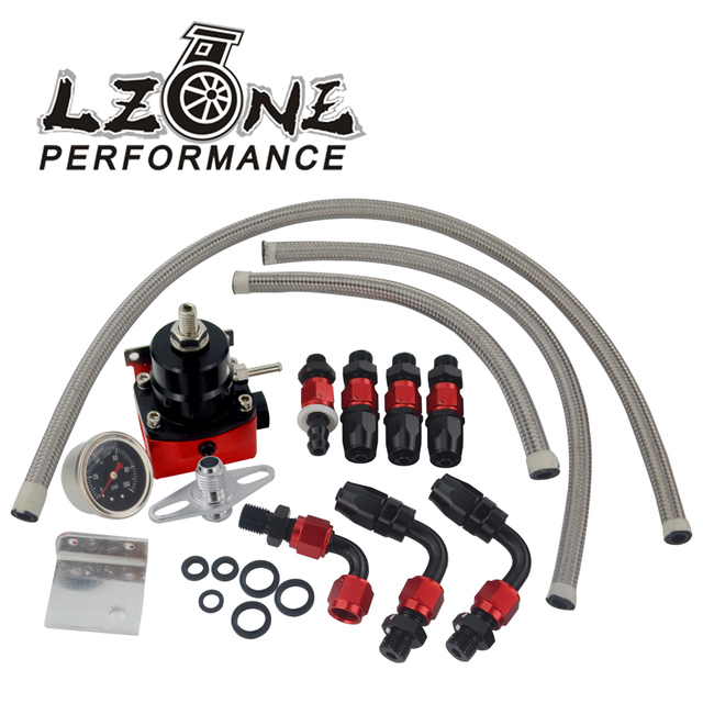 US $23 58 5% OFF|LZONE Universal Adjustable fuel pressure regulator FRP  Fuel Pressure Regulator with 100psi Gauge, AN6 hose,Fitting Adapter-in Oil