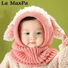 цена на Baby Rabbit Ears Knitted Beanie Hat With Hooded Scarf Earflap Infant Toddler Winter Warm Hat  Newborn Kids Kawaii Hat