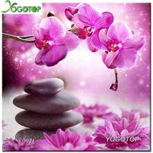 Orchid stone Needlework Diamond Painting Cross Stitch 5D Diamond Embroidery Round Full Drill Diamond Mosaic Crafts XC549