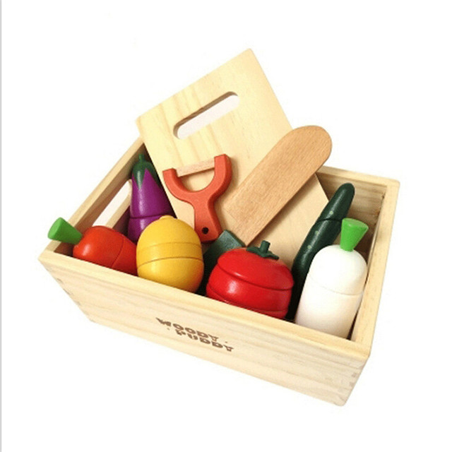 caja de madera creativa de frutas y verduras como juguetes de madera para nios juegos de