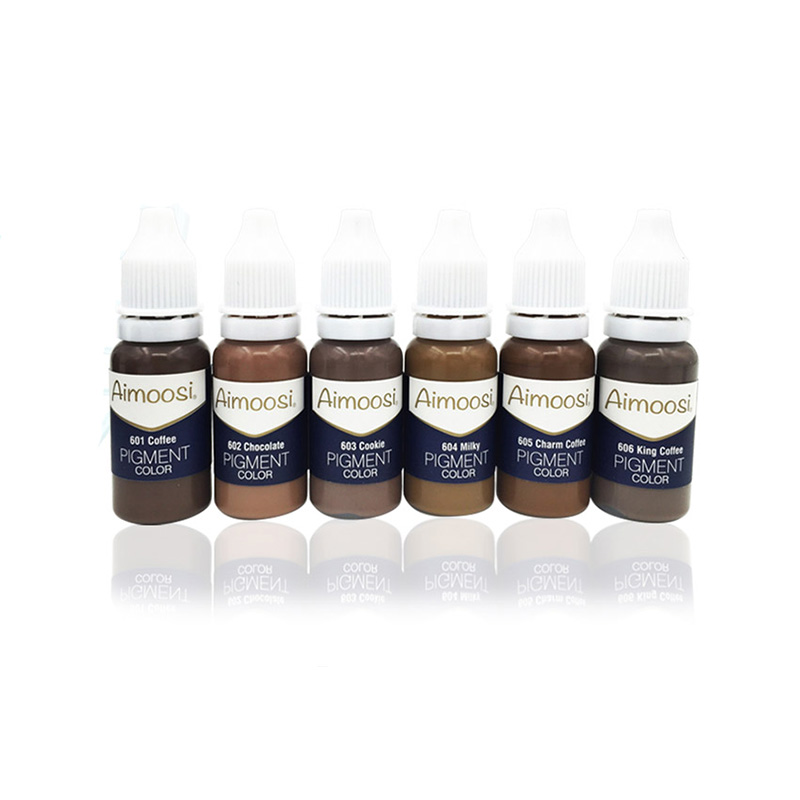 6 Bottles Aimoosi Tattoo Pigment For Tattoo Permanent Eyebrow Munsu Beauty Makeup Ink Free Shipping Goochie quality 1 set aimoosi native mist brow combination permanent tattoo inks for eyebrow makeup professional fog eyebrow tattoo pigments