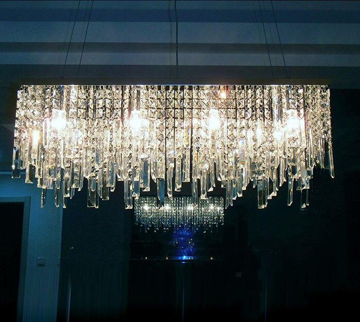 Chinês moderno moda simples criativo retangular K9 cristal LED lustre bar restaurante iluminação Da Lâmpada Do Teto LEVOU Dispositivo Elétrico