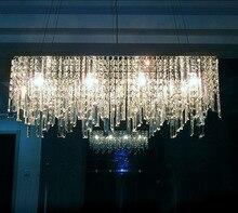 Lustre de led retangular k9, moderno, simples, chinês, criativo, cristal, bar, restaurante, iluminação, lâmpada de teto, luminária led