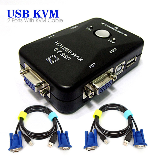 2 USB 20 Port KVM Switch Box Mouse Keyboard VGA Video With Cables