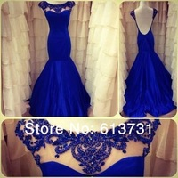 2014 New Arrival Sexy Scoop Taffeta Cap Sleeve Beaded Backless Long Evening Gown Mermaid Prom Dresses Court Train