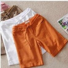 Новинка, летние льняные штаны, средняя талия, хлопковые шорты, прямые повседневные штаны, свободные женские штаны, большие yards16326