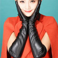 WOWTIGER Female temperament of Europe and the bowknot gloves autumn winter warm long cubits long leather gloves women glovess