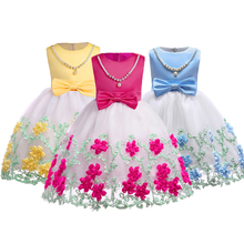 Spring Summer Yarn Embroidery Baby Girl Clothes Tutu Dress Hand Beading Party Kids Dresses For Girls 10y Casual Dress Costume