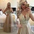 Ver Através Voltar Borgonha Vestidos de Noite Longo de Chiffon Ouro Champagne Lace Applique Formal Vestidos 2016 robe de soiree longo