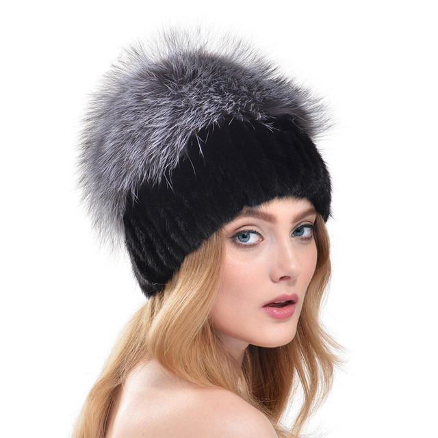 2016 New Winter Russia Style Knitted Mink Fur Hat With Large Silver Fox Fur Top Pom Poms Beanies Elegant Women Fur Cap LH312