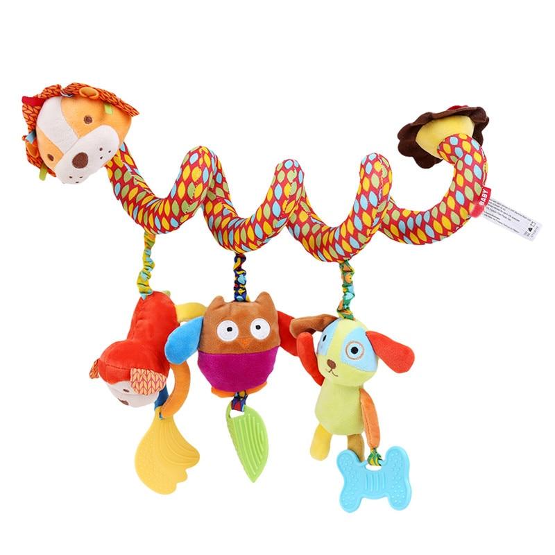 Baby Bed Rammelaar Baby Speelgoed Ring Geluid Activiteit Spiraal Bed Kinderwagen Speelgoed Dubbele Hoofd Leeuw Olifant Opknoping Bel Wieg Rammelaar speelgoed 3