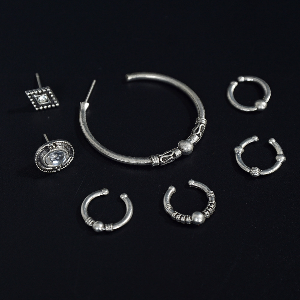 5 PCS Clip Earrings Set Vintage Ear Cuff For Women New Year Gift Silver Color Fashion Je ...