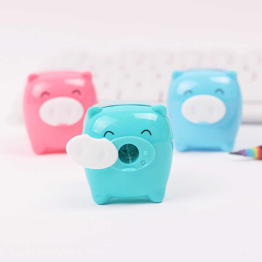 1PC Stationery Candy Colored Pig Pencil Sharpener Mechanical Creative Cartoon Pencil Sharpener for School Supplies