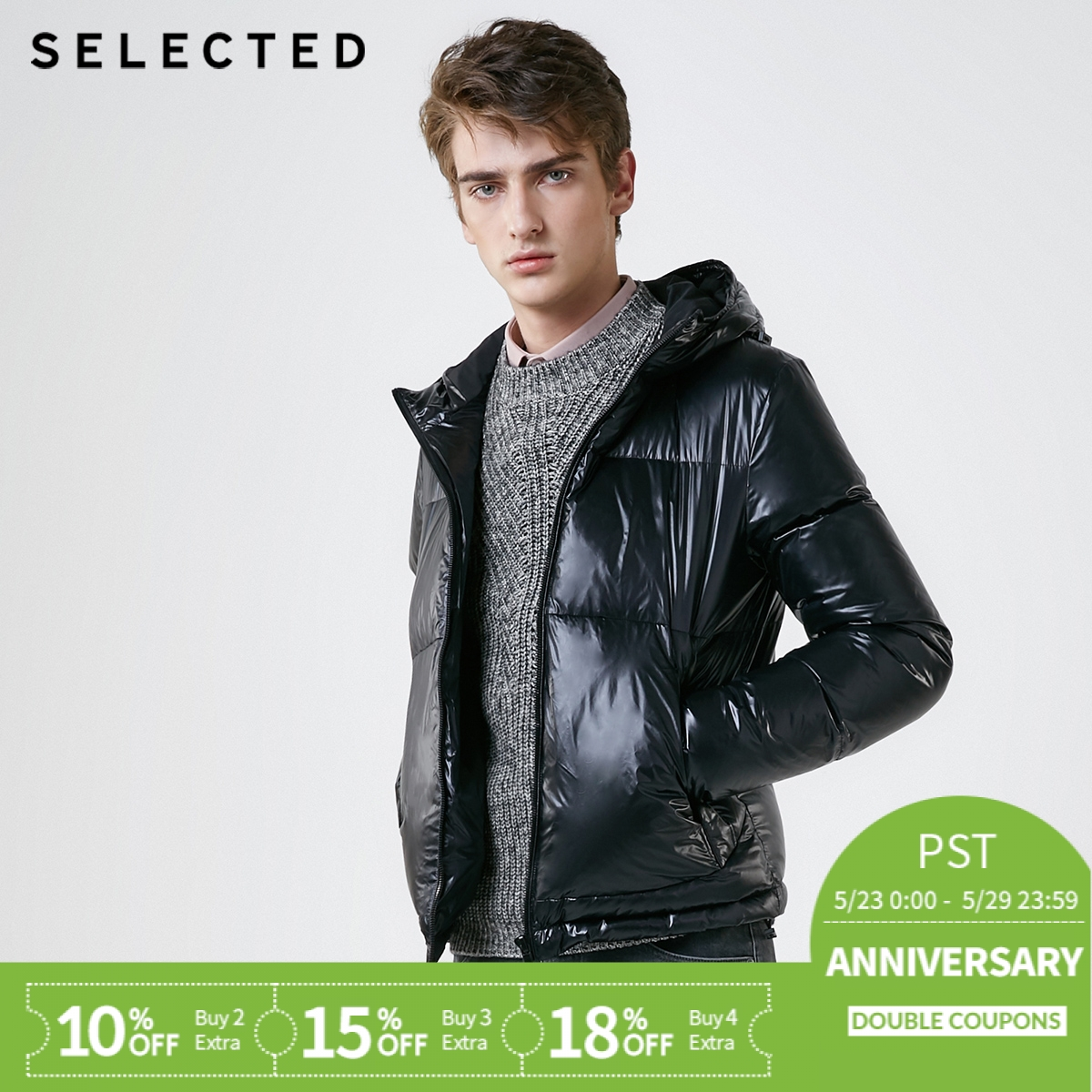 SELECTED Men's Winter Down Jacket New Clothes Hat Bright Fashion Short Down Suit Warm Coat S | 418412557