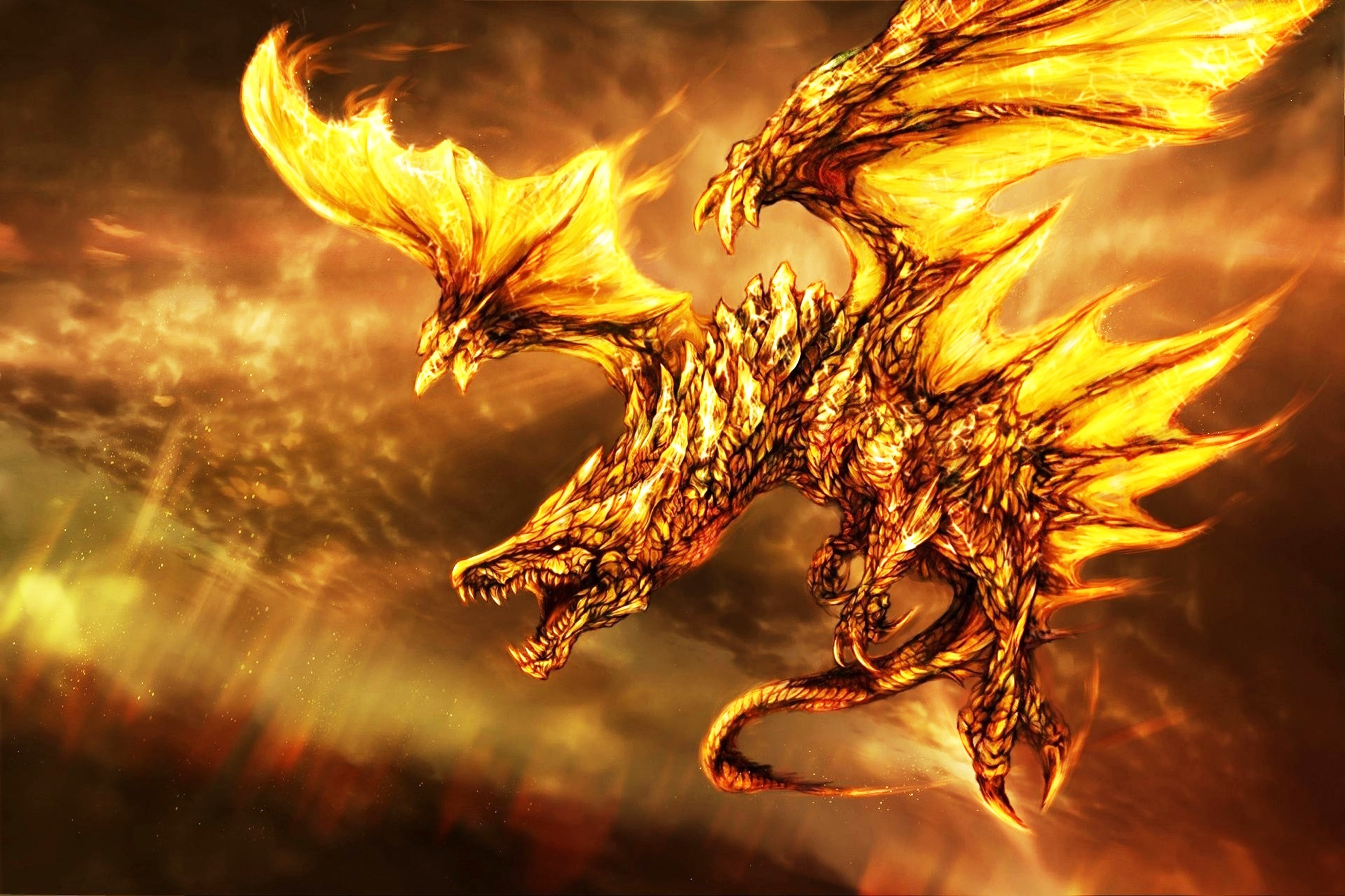 buyer large deal booking 2 dragon fire Modern Living room home wall decoration wood frame poster