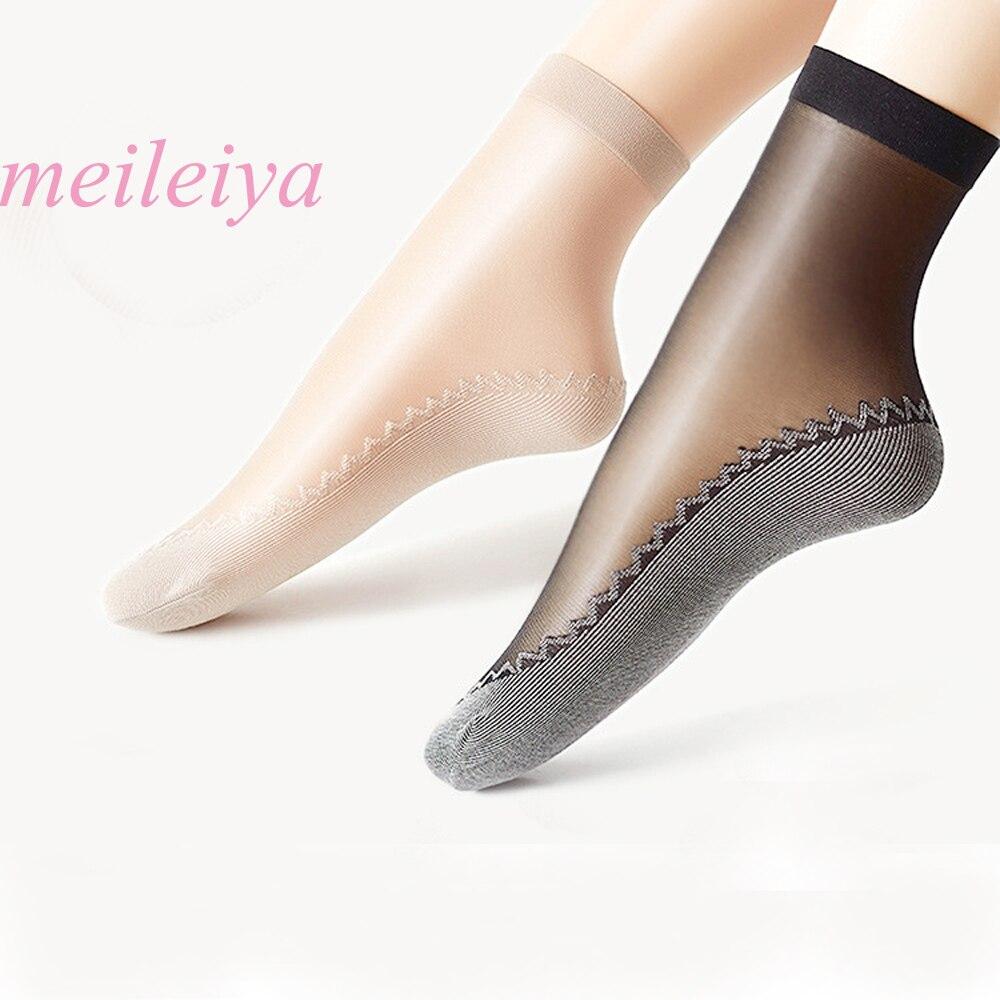 Meileiya 10 pares/lote nova veludo de seda das mulheres meias de algodão inferior macio não deslizamento único massagem wicking antiderrapante outono sock