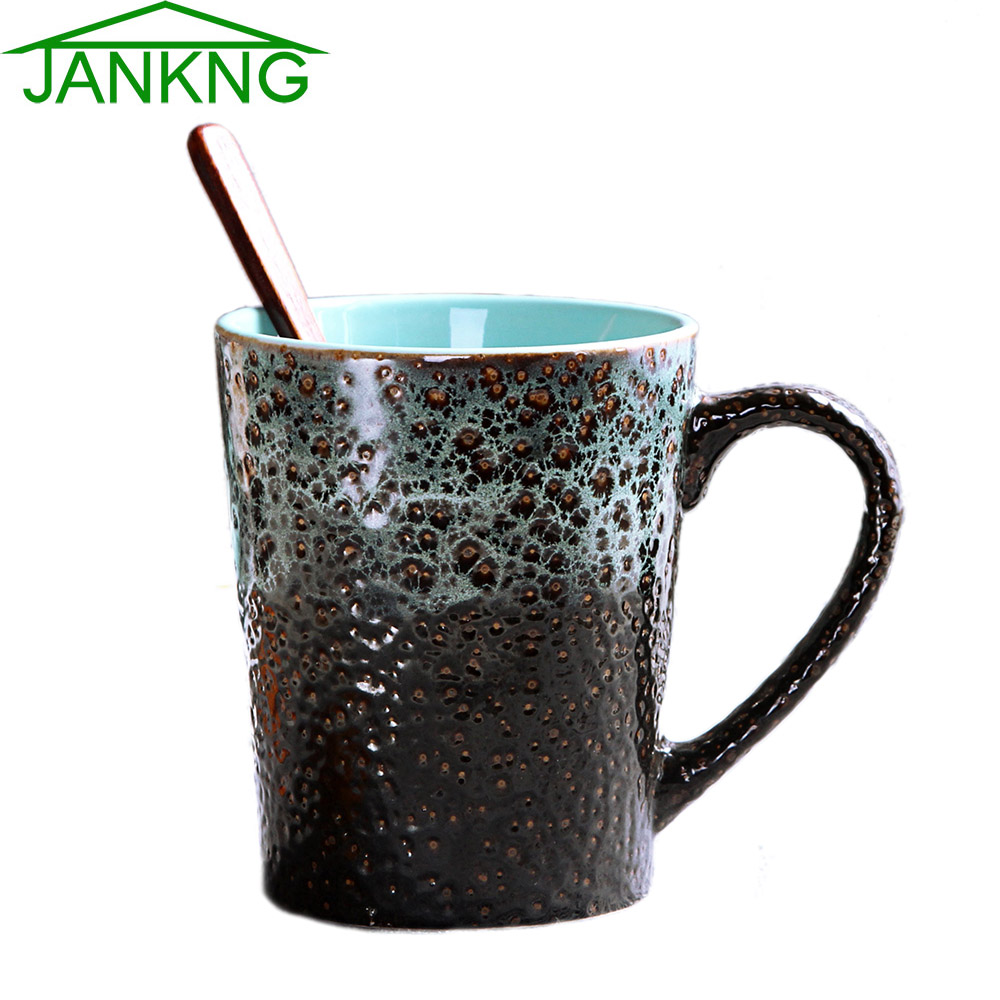 JANKNG 435mL Western Design Ceramic Coffee Mugs Cup Hand Painted Coffee Blue Sea Travel Mug Milk